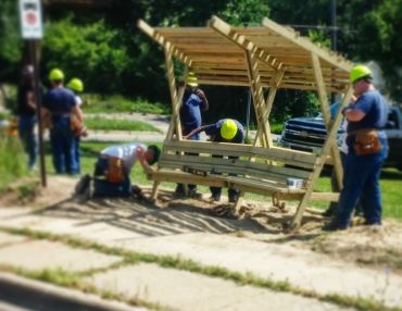 A Bus Stop Super-Bench Prototype Design-Built By Michigan Teens.